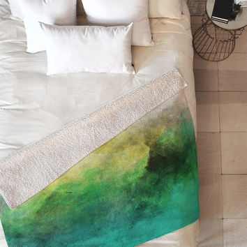 Allyson Johnson Peacock Ombre Fleece Throw Blanket