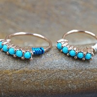 Rose Gold Nose Hoop with Turquoise Gems