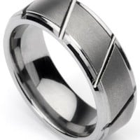 Men's Tungsten Ring/ Wedding Band, Slatted Design, Sizes 7 - 10 (rg3) (10)