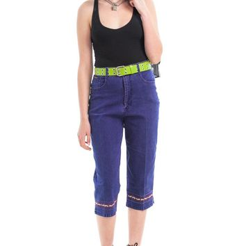 Vintage 90's Peg Embroidered Cropped Mom Jeans - XS/S/M