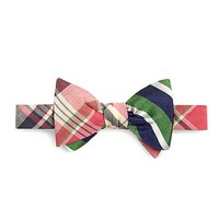 Men's Pink Madras with Green textured Sidewheeler Stripe Reversible Bow Tie
