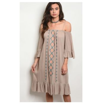 """Adorable Me"" Off Shoulder Tribal Detail Taupe Dress"