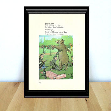 But the Bear Had Nothing to Wear in Johnny Crow's Garden, Fairy Tale & Children's Home Decor Print (1970s} Vintage Book Page