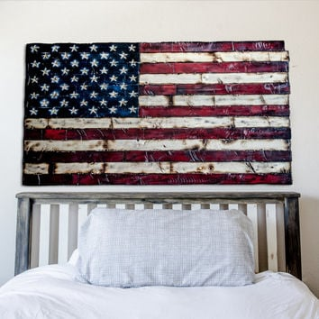 American Flag Painted and Burned with Hand Carved Stars