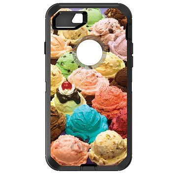 DistinctInk™ OtterBox Defender Series Case for Apple iPhone / Samsung Galaxy / Google Pixel - Ice Cream Scoops Cones