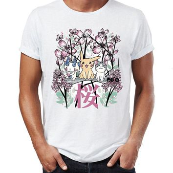 Men's T Shirt Traditional Japanese Painting  Pikachu and Cat Cherry Blossom Awesome Artwork Printed TeeKawaii Pokemon go  AT_89_9