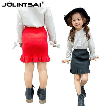 New Solid Knitting Skirts For Girls 2016 Winter Autumn Package Hip Skirt Baby Girl Elastic Waist Pettiskirt Fishtail Child Skirt