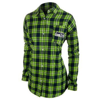 Seattle Seahawks Wordmark Long Sleeve Women's Flannel Shirt by Klew