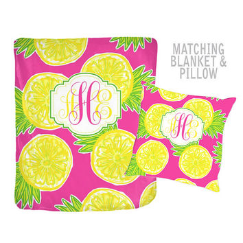 Pineapple Monogram Blanket -Lilly Pattern Design - Personalized Flower Nursery - Lemon Quilt -Baby Shower Gift-Swaddle Blanket Pillow Set