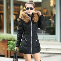2015 Winter Women Parka Outerwear Duck Down Jacket With Large Fur Collar Plus Size M - XXXL Thickening Long Coat = 1932276612