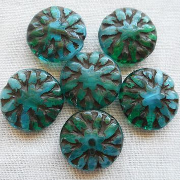 Six 14mm Opaque & Translucent Teal, Blue, Green Picasso Dahlia flower beads, Czech glass beads C02106