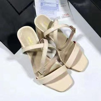 YSL Women Casual Low Heeled Shoes Sandals Shoes-1