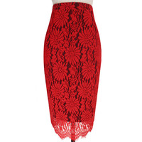 Bodycon Floral Lace Skirt