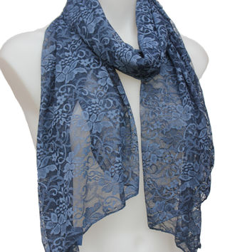 LONG SHEER FLORAL LACE SCARF