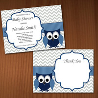 Owl Baby Shower Invitation Boy Baby Shower invitations Printable Baby Shower Invites -FREE Thank You Card - editable pdf Download (557) blue