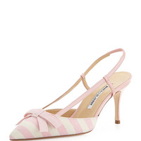 Manolo Blahnik Galop Striped Canvas Halter Pump, Pink/White