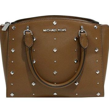 VONW3Q MICHAEL Michael Kors Women's ELLIS Small Satchel Studded Leather handbag (Luggage)