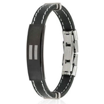 Equality - Equal symbol black rubber and stainless steel ID bracelet with white stitching