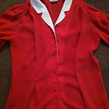 80s korean red white stripe peter pan blouse size small medium