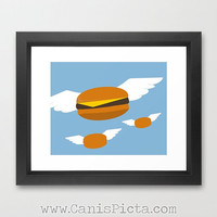 Flying Burgers Television Show Pop Art Print TV Pop Culture Humor Bob's Flying Cheeseburgers Hamburgers Burgers Fast Food Funny Foodie Blue