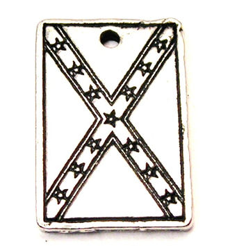 Confederate Flag Rectangle Genuine American Pewter Charm
