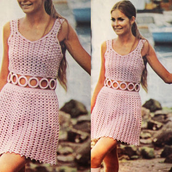 Crochet Pink Party dress Vintage pattern PDF Instant Download crochet 70s dress mesh dress knitted supplies epsteam knitting pattern halter