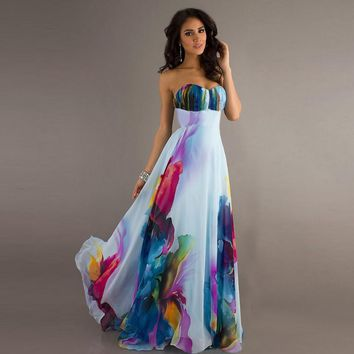 Gorgeous wedding style a-line print strapless floor-length chiffon long dress maxi dress SCE065