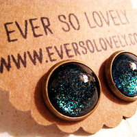 dark black blue green sparkly metallic nickel free post earrings - summer nights and shooting stars