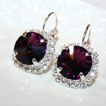 Amethyst Rhinestone Swarovski Silver Earrings leverback, Cluster Crystal sparkling Purple dark Velvet Statement Earrings, Bridal Jewelry