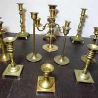 Vintage Brass Candlestick Collection - Set of 12 Candle Holders and 1 Candelabra - Instant Brass Candle Holder Collection