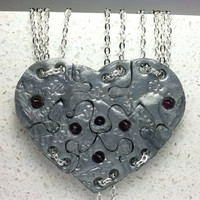 Heart Shaped Puzzle Necklaces Set of 6 Interlocking Necklaces Polymer Clay Silver Cherry Blossom with Crystals Set 241