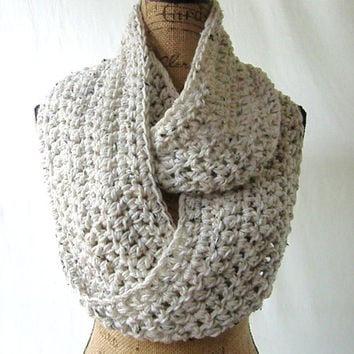 New Tweed Ivory Black Brown Oatmeal Cowl Scarf Fall Winter Women's Accessory Infinity
