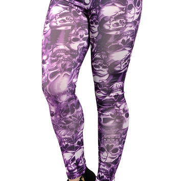 BadAssLeggings Women's Lots Of Skulls Medium Purple