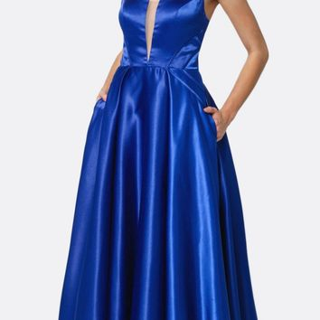 Long Shiny Satin A-line Prom Gown Royal Blue With Pockets