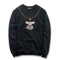 Round-neck Long Sleeve Hoodies Winter Embroidery Pendant [10351478343]