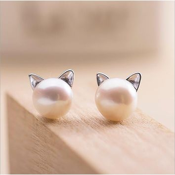 Imitation Pearl Cat Stud Earrings for Women Earrings Jewelry