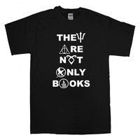 They Are Not Only Books For T-shirt Unisex Adults size S-2XL Black and White