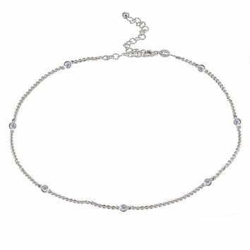 Dainty CZ Station Chain Choker Necklace in Sterling Silver