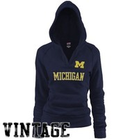 Michigan Wolverines Ladies Navy Blue Rugby Vintage Hoodie Sweatshirt
