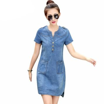 denim short sleeve loose summer dress