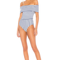 Solid & Striped The Vera One Piece in Navy Breton