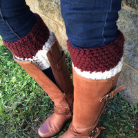 Wine and White Boot Cuffs, Purple Boot Toppers, Oatmeal Boot Cuffs, Beige Boot Cuffs, Cream Boot Cuffs, Boot Accessories, 2 in One Boot