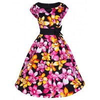 'Kelly' Gorgeous Vibrant 50's Style Oriental Pink Lily Print Swing Party Dress