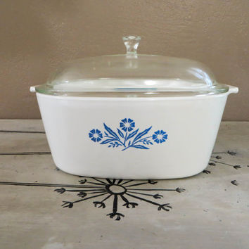 NBU P 84 Corning Ware Covered Saucepot 4 Qt Covered Baking Dish White and Blue Vintage Cookware Corning Cookware Vintage Corning Ware P 34