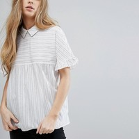Vila Short Sleeve Striped Smock Blouse at asos.com