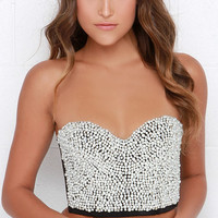 Take the Stage Black Pearl Bustier Top