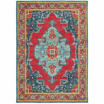 Joli Blue Red Oriental Medallion Traditional Rug