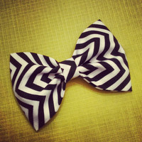 Chevron black and white fabric hair bows zigzag by SplendidBee