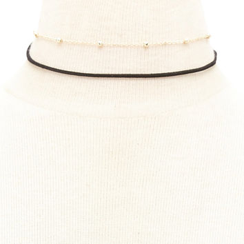 Layered Faux Suede Chain Choker
