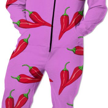 Purple, pink and red spicy pattern, red chili pepper asymetric theme Onesuit